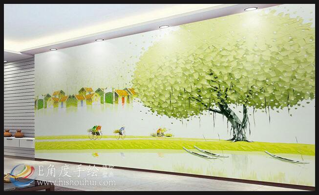 [背景彩绘墙]新中式田园手绘壁画背景墙